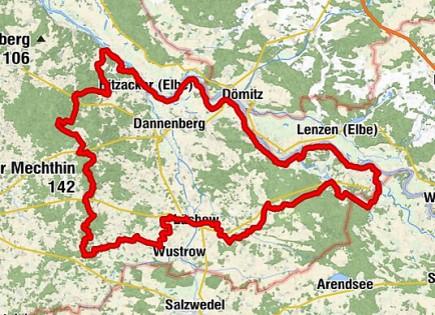 Karte des Wendland Rundweg