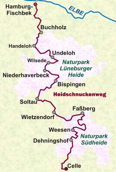 Karte des Heidschnuckenweg